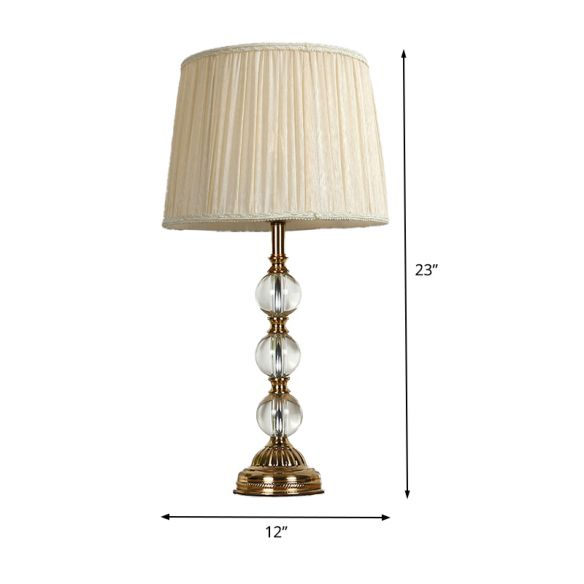 White Ball Desk Lamp Modern 1 Bulb Clear Crystal Table Light with Drum Fabric Shade Table Lamps mnVFC