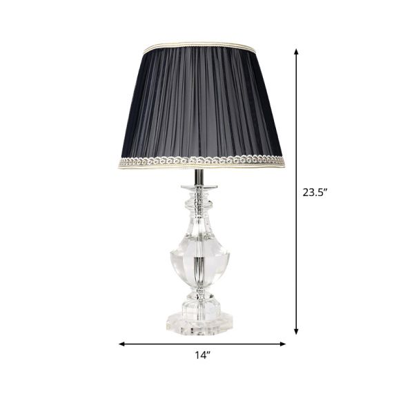 1 Bulb Bedroom Crystal Nightstand Lamp Simplicity Night Table Lighting with Conical Fabric Shade Table Lamps M3qFJ