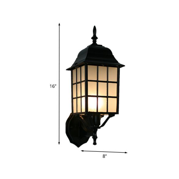 1-Head Sconce Countryside Grid Shape Aluminum Wall Mounted Light with Frosted Glass Shade in Black Wall Lamps & Sconces OffO9