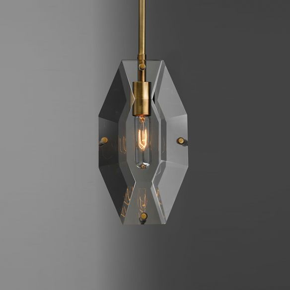Simple Double Panel Pendant Lighting 1-Bulb Faceted Crystal Ceiling Hang Fixture in Brass Pendant Lights R1iD0