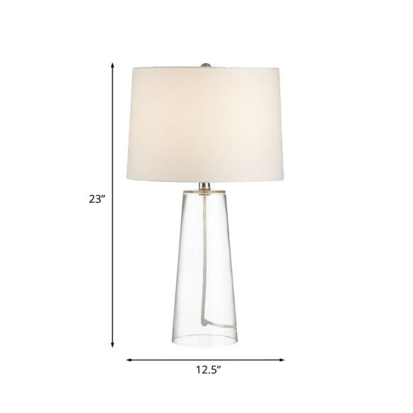 Traditional Cone Table Light 1 Head Clear Glass Nightstand Lamp with Barrel White Fabric Shade Desk Lamps HjNsv