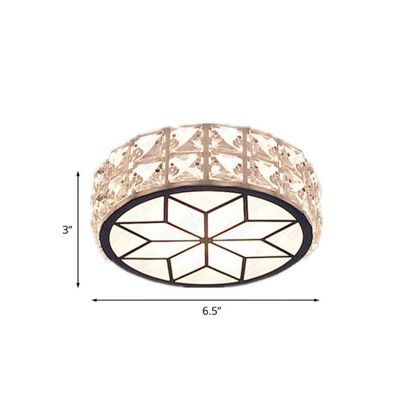 LED Flush Mount Spotlight Minimalist Round Clear Crystal Ceiling Light Fixture with Petal Pattern, Warm/White Light Close To Ceiling Lights 0Vz12