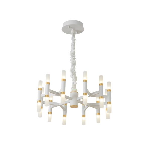 Iron Tubular Ceiling Lamp Modernist 24 Lights LED Radial Hanging Chandelier in Black and Gold/White and Gold Chandeliers SaxYU