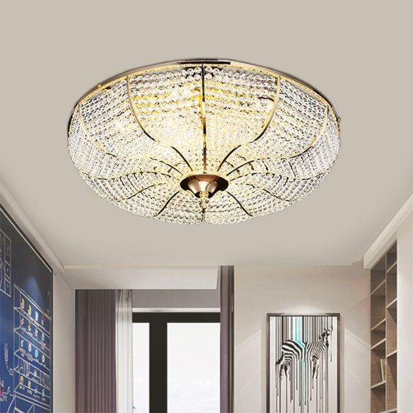 LED Beaded Flush Mount Lamp Simple Style Gold Finish Crystal Ceiling Mounted Fixture for Living Room Close To Ceiling Lights bZeFy
