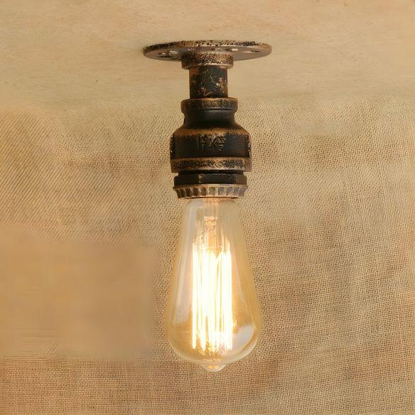 1 Head Iron Semi Flush Lighting Industrial Rustic Bronze/Antique Brass Open Bulb Corridor Ceiling Lamp Close To Ceiling Lights BRkwQ