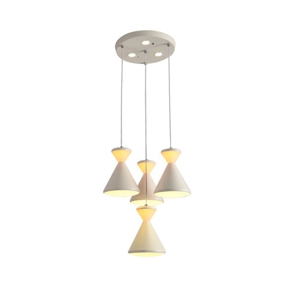 4 Heads Dining Room Cluster Pendant Light Modernist White LED Hanging Lamp with Hourglass Acrylic Shade Pendant Lights QG99G