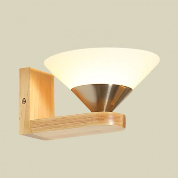 1 Bulb Bedside Wall Sconce Modern Wood and Nickel Wall Light Fixture with Cone White Glass Shade Wall Lamps & Sconces wE6Ou