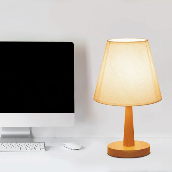 1 Bulb Bedroom Night Light Modernist Beige Nightstand Lamp with Barrel Fabric Shade Table Lamps Tc7ao