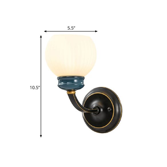 Black 1 Bulb Wall Light Fixture Classic Style White Ribbed Glass Globe Wall Lighting Ideas Wall Lamps & Sconces Wgr9m