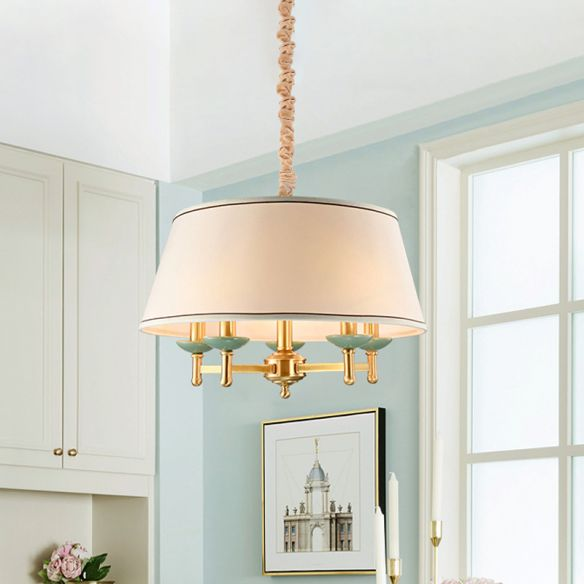 5 Lights Fabric Chandelier Light Fixture Classic White Drum Shade Dining Room Hanging Lamp Kit Chandeliers 5FNZx