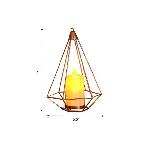 Candle Style Table Lamp Kids Iron Golden LED Nightstand Lighting with Triangle/Cactus Cage Night Lights udHF4
