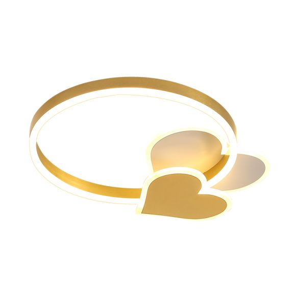 Simplicity LED Ring Ceiling Lighting Gold Loving Heart Flush Mount Lamp with Acrylic Shade in Warm/White Light Close To Ceiling Lights EaoTq