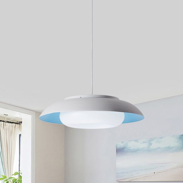 Macaron Wide Bowl Pendant Light Iron Dining Table Suspension Lamp in Black/Blue with Inner Round Shade Pendant Lights uVRCS