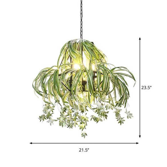 Farm Circular Cage Chandelier Light 5 Bulbs Iron Pendant Lighting Fixture in Green with Flower Decor Chandeliers ZQAHI