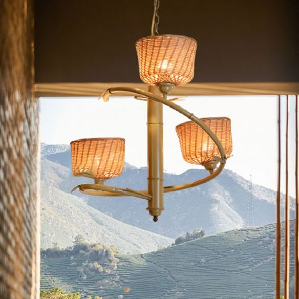 Spiral Bamboo Hanging Chandelier Asian, Chandelier Hanging Mountains