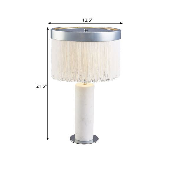Stone Tube Night Table Light Contemporary 1-Light Desk Lamp in White with Tassel Deco Table Lamps 4zDII