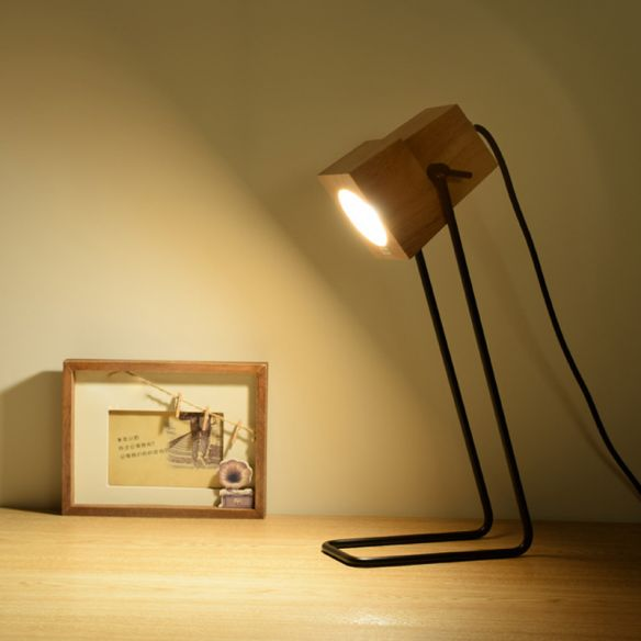 Wood Bell Shape Task Lamp Modern 1-Light Beige Reading Book Light with Black Slim Arm Table Lamps qi8qL