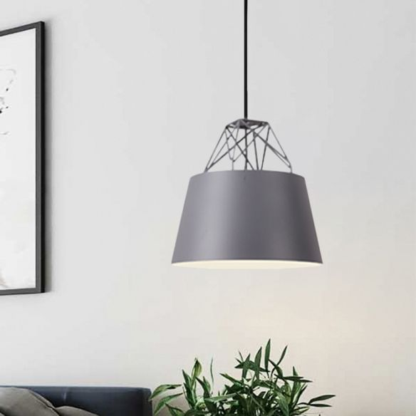 Aluminum Drum Shape Hanging Light Restaurant 1 Light Modern Pendant Light with Iron Wire Pendant Lights 7j6fm