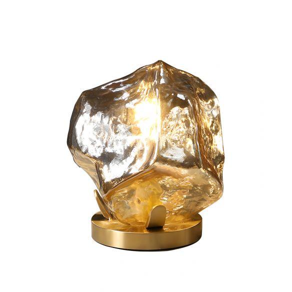 Gold Gem Shaped Table Lighting Modern 1-Light Cognac/Clear Glass Night Lamp for Living Room Table Lamps jMmOx