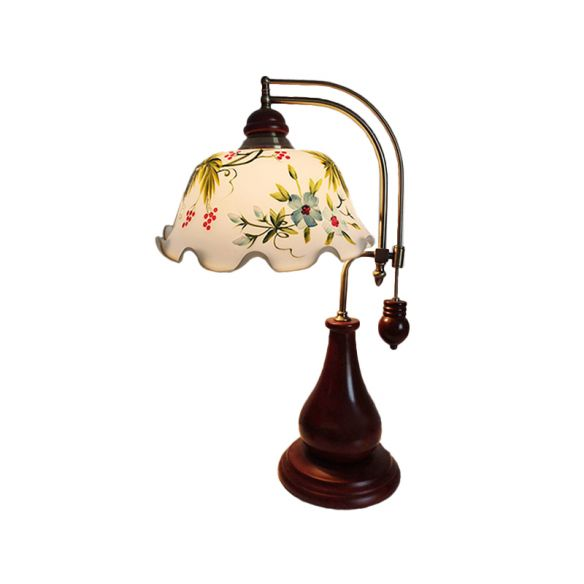 Wood Red Brown Nightstand Lamp Curving Single Pastoral Table Light with Ruffle Stained Glass Shade Table Lamps JBR4m