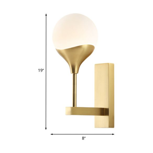 1 Bulb Bedroom Wall Light Minimal Brass Finish Wall Sconce with Globe Cream Glass Shade Wall Lamps & Sconces 7wRHp