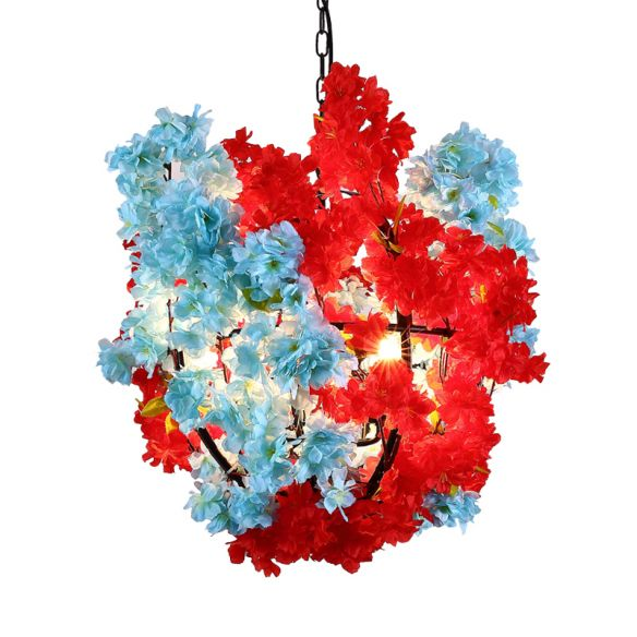 3 Bulbs Floral Spherical Chandelier Lighting Fixture Industrial Red and Blue Metallic Suspension Lamp Chandeliers rXsqD