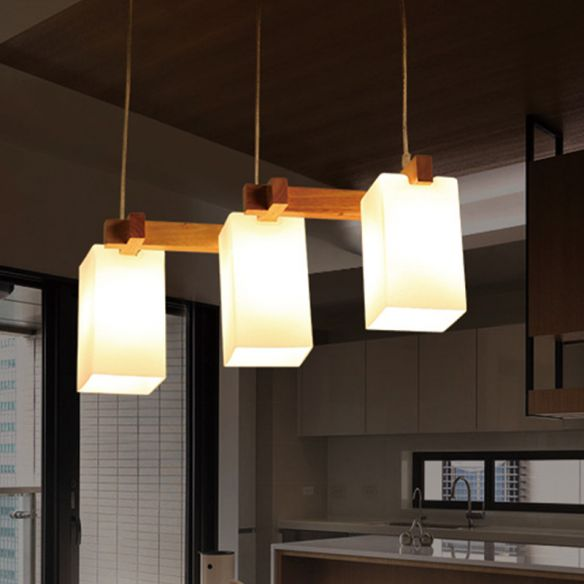 3 Bulbs Kitchen Cluster Pendant Modern Wood Hanging Lamp with Rectangular White Glass Shade Pendant Lights HUn7v