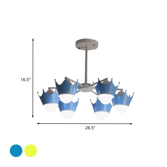 Radial Iron Ceiling Chandelier Kid 6/8 Bulbs Yellow/Blue Hanging Pendant Light with Crown Lamp Shade Chandeliers N7VOs