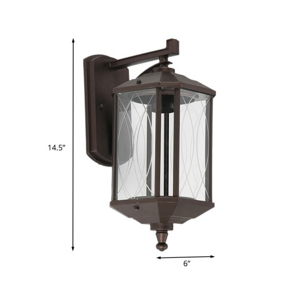1-Head Cuboid Wall Mount Lighting Lodges Dark Coffee Clear Textured Glass Wall Sconce Lamp Wall Lamps & Sconces AyF0c