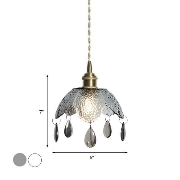 Brass Scalloped Bowl Hanging Lighting Vintage 1 Bulb Clear/Smoke Gray Water Glass Suspended Pendant Lamp Pendant Lights MP5KN
