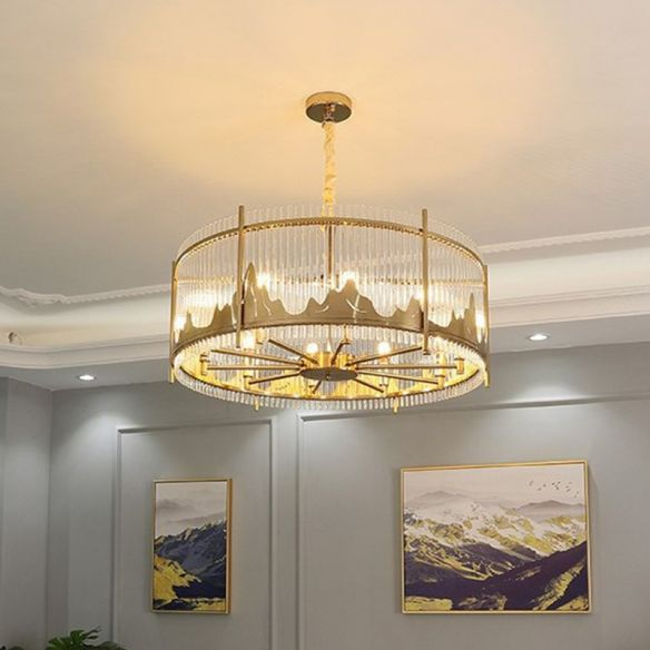 Strip Crystal Gold Ceiling Chandelier, Chandelier Hanging Mountain