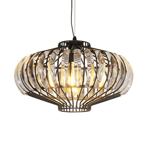 1 Light Hanging Pendant Clear Crystal Vintage Lounge Ceiling Lamp with Lantern Shade in Black Pendant Lights Yt5dL