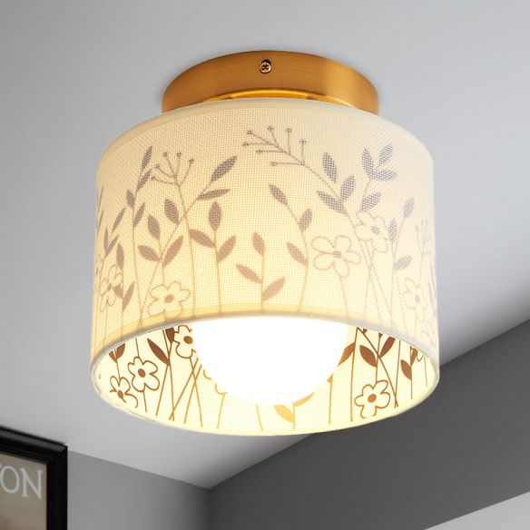 1 Light Drum Shade Semi Flush Mount Light Traditional Brass Finish Fabric Ceiling Lighting with Elk/Leaf Pattern Close To Ceiling Lights d0ZkI