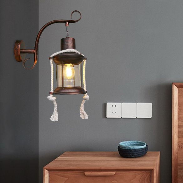 1-Bulb Metal Wall Mounted Light Industrial Brass/Copper Curved Arm Sconce with Lantern Clear Glass Shade Wall Lamps & Sconces iZhFz