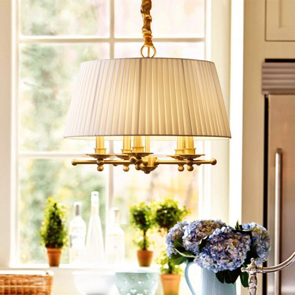 Fabric Brass Pendant Chandelier Gathered Empire Shade 5-Head Traditional Hanging Ceiling Light Chandeliers 5d71x