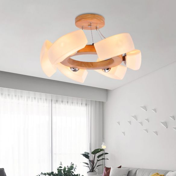 Wood Curved Chandelier Pendant Light Japanese 6 Lights White Glass Ring Hanging Ceiling Lamp Chandeliers aEptq