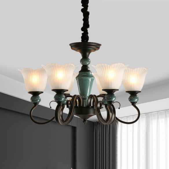 3/6-Light Pendant Light Rural Style Frosted Ribbed Glass Chandelier Lighting Fixture in Black with Swirl Arm Chandeliers 8cq8q