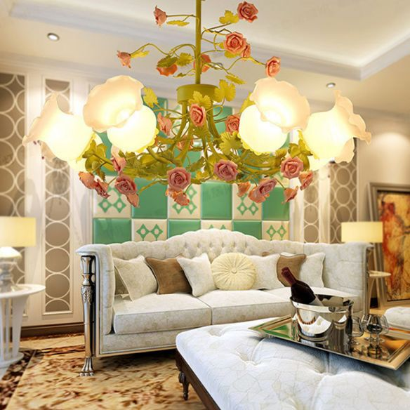 Sputnik Living Room Chandelier Korean Flower Ivory Glass 8 Lights Green Suspension Lighting Chandeliers T6cTV