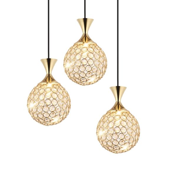 3/5 Bulbs Globe Cluster Pendant Modern Gold Cut Crystal Hanging Ceiling Light for Dining Room Pendant Lights CGUwH