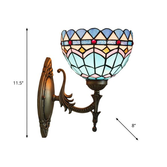 1-Light Bedroom Wall Sconce Mediterranean Bronze Wall Light Fixture with Bowl Blue Glass Shade Wall Lamps & Sconces v265O