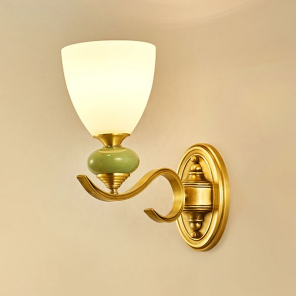 Vintage Conic Wall Mount Light Fixture 1/2-Head Opal Glass Up Wall Lamp in Gold for Living Room Wall Lamps & Sconces gFnTR