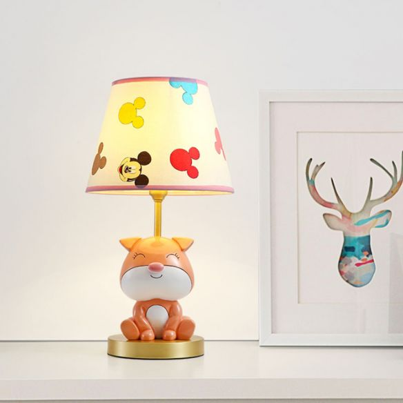 Yellow/Orange Doggy Table Lighting Kids 1 Bulb Resin Night Stand Lamp with Fabric Shade for Child Bedroom Table Lamps ujwZ8