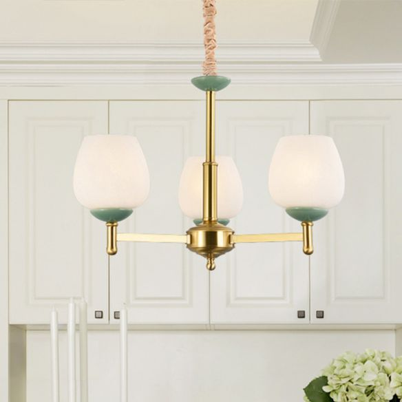 Gold Finish 3 Heads Suspension Light Traditional White ...