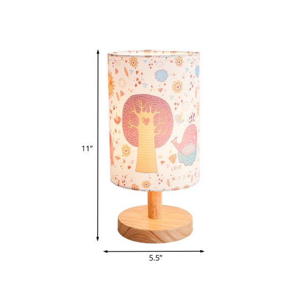 Wood Cylinder Night Table Lamp Kids 1 Head Fabric Nightstand Light with Tree and Flower Pattern Table Lamps BPFpA
