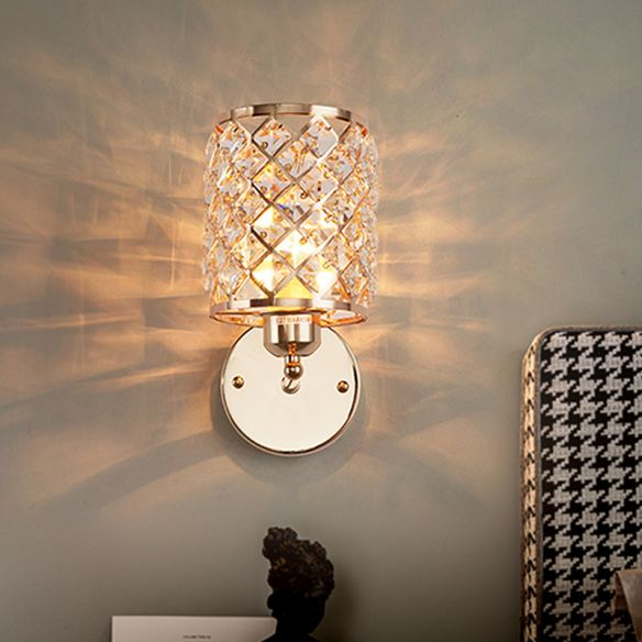 1 Bulb Crystal Inserted Wall Light Kit Simple Gold Cylindrical Trellis Living Room Sconce Lamp Wall Lamps & Sconces E8ohO