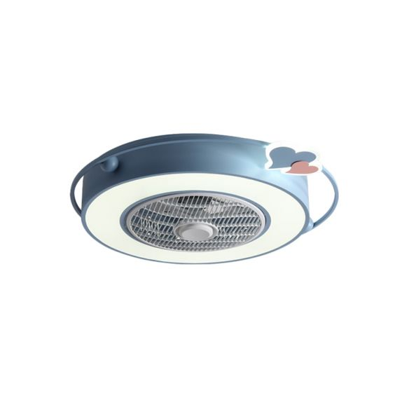 Blue/Pink Box LED Ceiling Fan Kids Acrylic Bladeless Flush ...