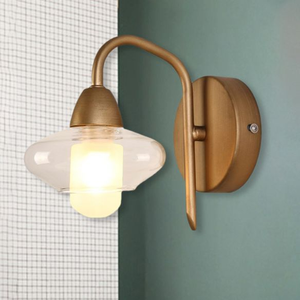 Brass Elliptical Sconce Lighting Modernist 1 Light Clear Glass Led Wall Mounted Light Wall Lamps & Sconces j9Rjo