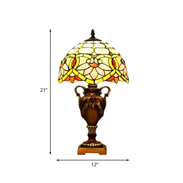 Yellow/Green Domed Desk Lighting Mediterranean 1 Light Hand Cut Glass Blossom Patterned Night Lamp with Trophy Base Table Lamps 8EbpB