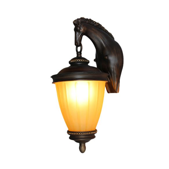 Yellow Glass Urn Wall Light Rural 1 Bulb Outdoor Wall Sconce in Dark Coffee with Resin Horse Backplate Wall Lamps & Sconces ICrni