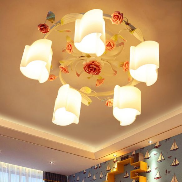 3/5-Head Floral Ceiling Flush Romantic Pastoral White/Yellow Frosted Glass Semi Flush Mount Chandelier Close To Ceiling Lights ZCkEq